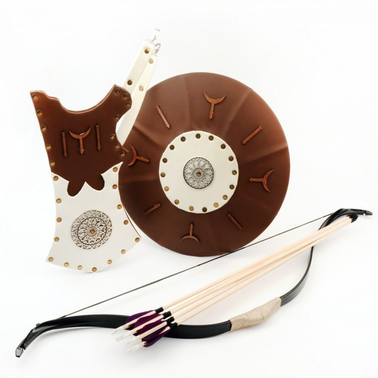 Bow, shield, arrow box, archer set