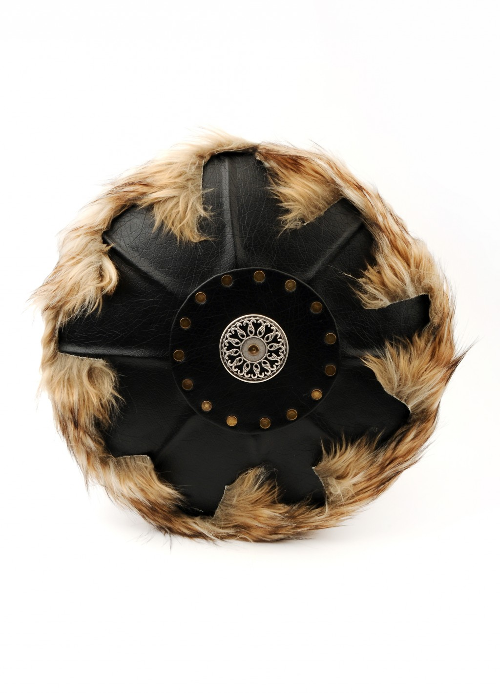 Leather-covered shield fur