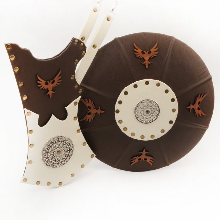 archer quiver and shield brown