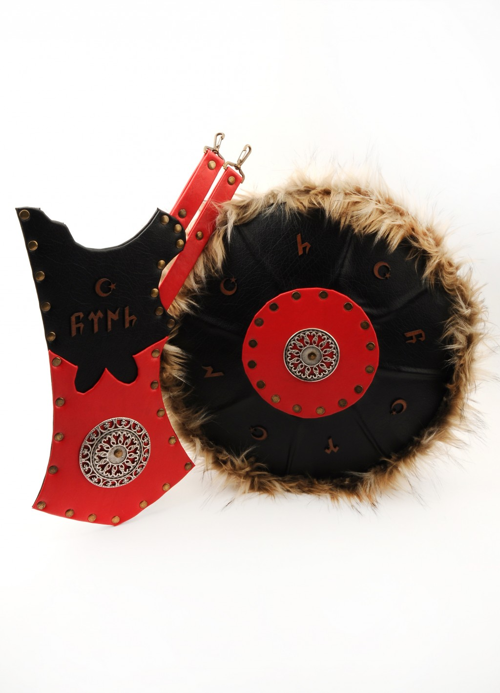 archer quiver and shield red