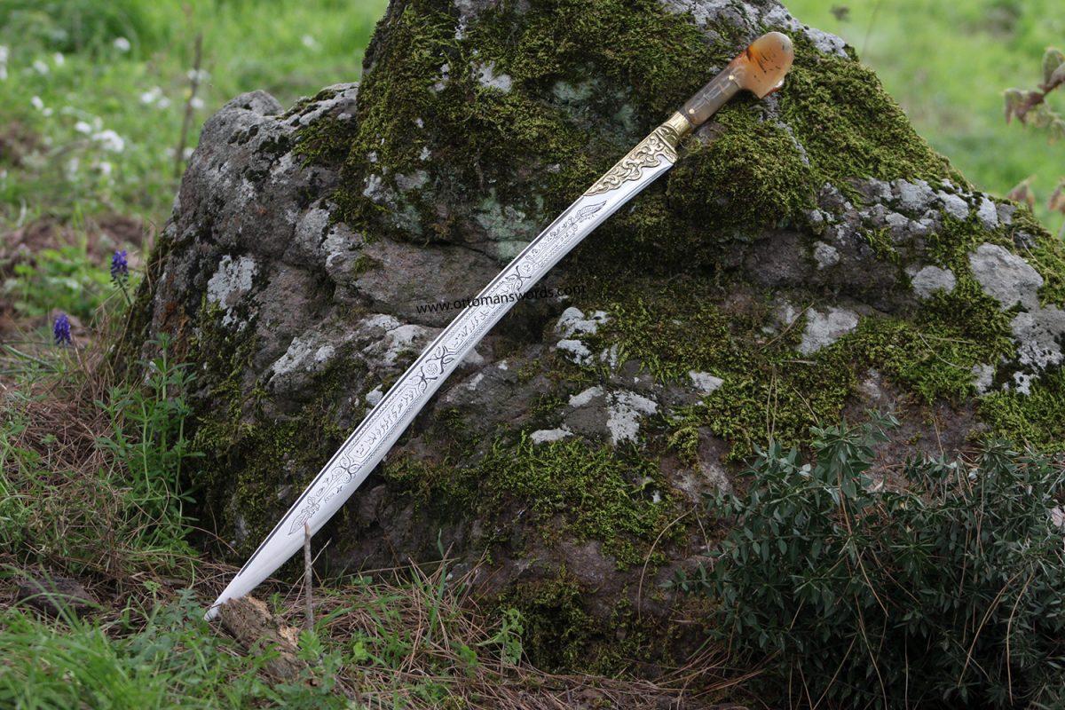 Buy Ram Horn Handle Yataghan Sword 4 Ram Horn Handle Yataghan Sword